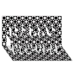 Modern Dots In Squares Mosaic Black White Happy New Year 3d Greeting Card (8x4) by EDDArt