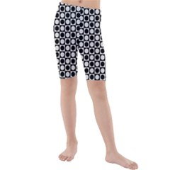 Modern Dots In Squares Mosaic Black White Kids  Mid Length Swim Shorts by EDDArt