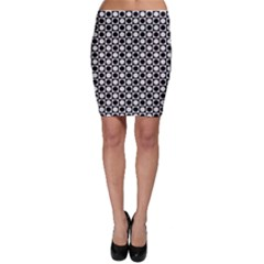 Modern Dots In Squares Mosaic Black White Bodycon Skirt by EDDArt