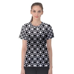 Modern Dots In Squares Mosaic Black White Women s Sport Mesh Tee by EDDArt