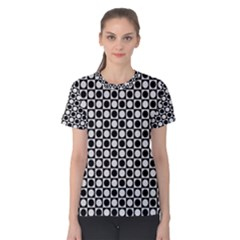 Modern Dots In Squares Mosaic Black White Women s Cotton Tee by EDDArt