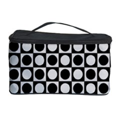 Modern Dots In Squares Mosaic Black White Cosmetic Storage Case by EDDArt
