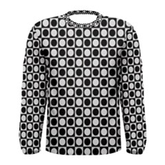 Modern Dots In Squares Mosaic Black White Men s Long Sleeve Tee by EDDArt