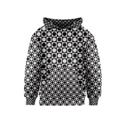 Modern Dots In Squares Mosaic Black White Kids  Pullover Hoodie by EDDArt