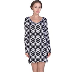 Modern Dots In Squares Mosaic Black White Long Sleeve Nightdress by EDDArt