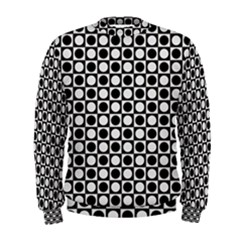Modern Dots In Squares Mosaic Black White Men s Sweatshirt by EDDArt
