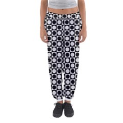 Modern Dots In Squares Mosaic Black White Women s Jogger Sweatpants by EDDArt