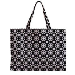 Modern Dots In Squares Mosaic Black White Zipper Mini Tote Bag by EDDArt