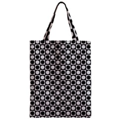 Modern Dots In Squares Mosaic Black White Zipper Classic Tote Bag by EDDArt