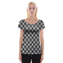 Modern Dots In Squares Mosaic Black White Women s Cap Sleeve Top by EDDArt