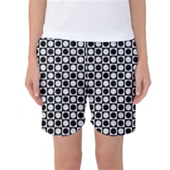 Modern Dots In Squares Mosaic Black White Women s Basketball Shorts by EDDArt
