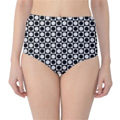 Modern Dots In Squares Mosaic Black White High Waist Bikini Bottoms by EDDArt