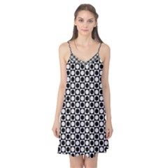 Modern Dots In Squares Mosaic Black White Camis Nightgown by EDDArt