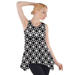 Modern Dots In Squares Mosaic Black White Side Drop Tank Tunic by EDDArt