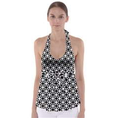Modern Dots In Squares Mosaic Black White Babydoll Tankini Top by EDDArt