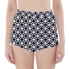 Modern Dots In Squares Mosaic Black White High Waisted Bikini Bottoms by EDDArt