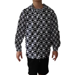 Modern Dots In Squares Mosaic Black White Hooded Wind Breaker (kids) by EDDArt
