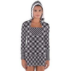 Modern Dots In Squares Mosaic Black White Women s Long Sleeve Hooded T-shirt by EDDArt