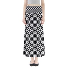 Modern Dots In Squares Mosaic Black White Maxi Skirts by EDDArt