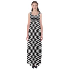 Modern Dots In Squares Mosaic Black White Empire Waist Maxi Dress by EDDArt