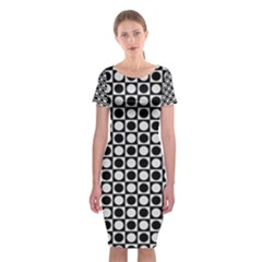 Modern Dots In Squares Mosaic Black White Classic Short Sleeve Midi Dress by EDDArt