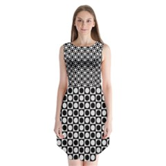 Modern Dots In Squares Mosaic Black White Sleeveless Chiffon Dress   by EDDArt