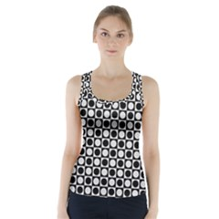 Modern Dots In Squares Mosaic Black White Racer Back Sports Top by EDDArt