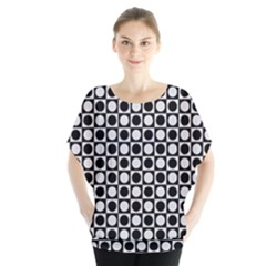 Modern Dots In Squares Mosaic Black White Blouse by EDDArt