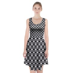 Modern Dots In Squares Mosaic Black White Racerback Midi Dress by EDDArt