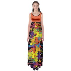 Crazy Multicolored Double Running Splashes Empire Waist Maxi Dress by EDDArt
