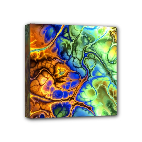 Abstract Fractal Batik Art Green Blue Brown Mini Canvas 4  X 4  by EDDArt