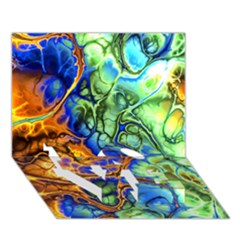 Abstract Fractal Batik Art Green Blue Brown Love Bottom 3d Greeting Card (7x5) by EDDArt