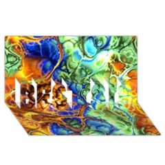 Abstract Fractal Batik Art Green Blue Brown Best Sis 3d Greeting Card (8x4) by EDDArt
