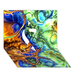 Abstract Fractal Batik Art Green Blue Brown Ribbon 3d Greeting Card (7x5) by EDDArt