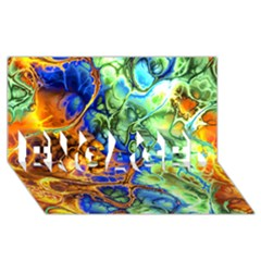 Abstract Fractal Batik Art Green Blue Brown Engaged 3d Greeting Card (8x4) by EDDArt