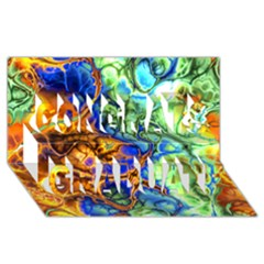 Abstract Fractal Batik Art Green Blue Brown Congrats Graduate 3d Greeting Card (8x4) by EDDArt