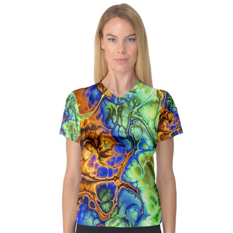 Abstract Fractal Batik Art Green Blue Brown Women s V-neck Sport Mesh Tee by EDDArt