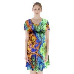 Abstract Fractal Batik Art Green Blue Brown Short Sleeve V Neck Flare Dress by EDDArt