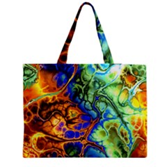 Abstract Fractal Batik Art Green Blue Brown Medium Zipper Tote Bag by EDDArt