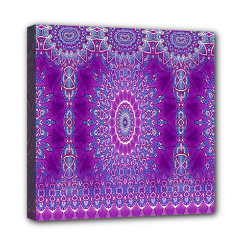 India Ornaments Mandala Pillar Blue Violet Mini Canvas 8  x 8