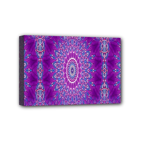 India Ornaments Mandala Pillar Blue Violet Mini Canvas 6  x 4