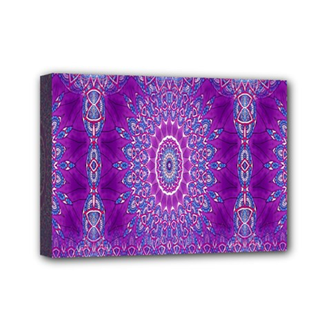 India Ornaments Mandala Pillar Blue Violet Mini Canvas 7  x 5
