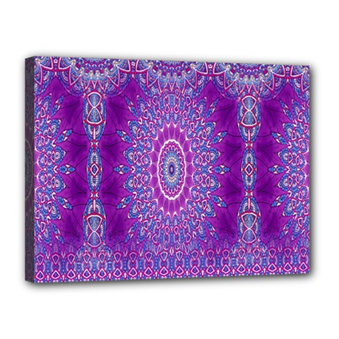 India Ornaments Mandala Pillar Blue Violet Canvas 16  x 12