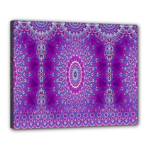 India Ornaments Mandala Pillar Blue Violet Canvas 20  x 16