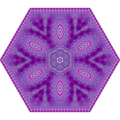 India Ornaments Mandala Pillar Blue Violet Mini Folding Umbrellas