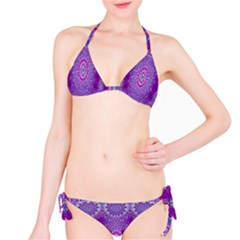 India Ornaments Mandala Pillar Blue Violet Bikini Set