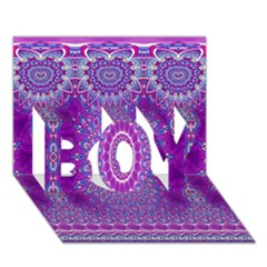 India Ornaments Mandala Pillar Blue Violet BOY 3D Greeting Card (7x5)