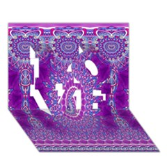 India Ornaments Mandala Pillar Blue Violet LOVE 3D Greeting Card (7x5)