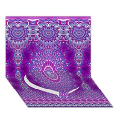 India Ornaments Mandala Pillar Blue Violet Heart Bottom 3D Greeting Card (7x5)