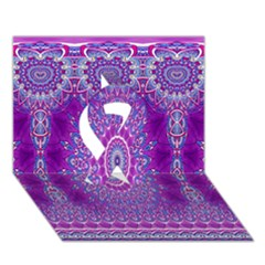 India Ornaments Mandala Pillar Blue Violet Ribbon 3D Greeting Card (7x5)
